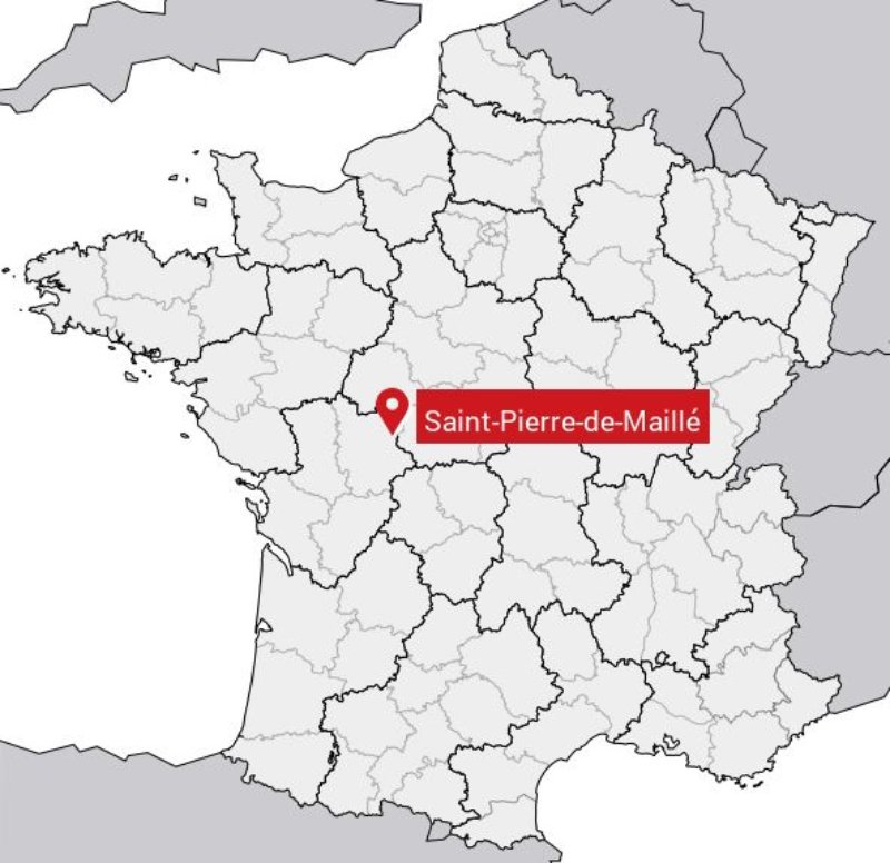 Saint-Pierre de Maillé sur la carte France